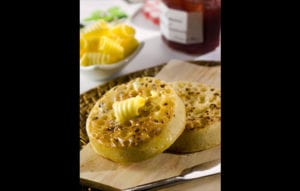 Food Photography   Buttered Crumpets on Wood