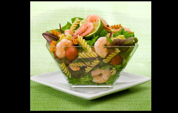 Food Photography | Pasta and Prawns in Glass Dish