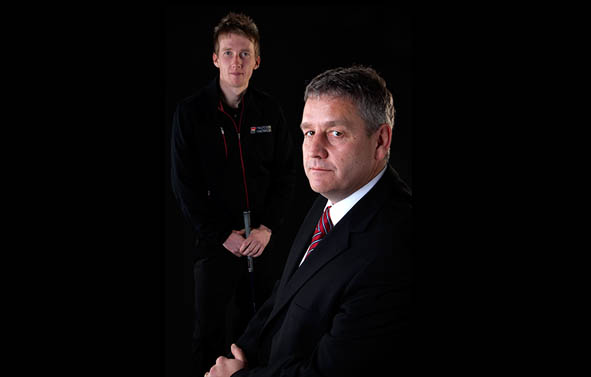 Portrait photography I Studio portrait photography of a golfer and his sponsor