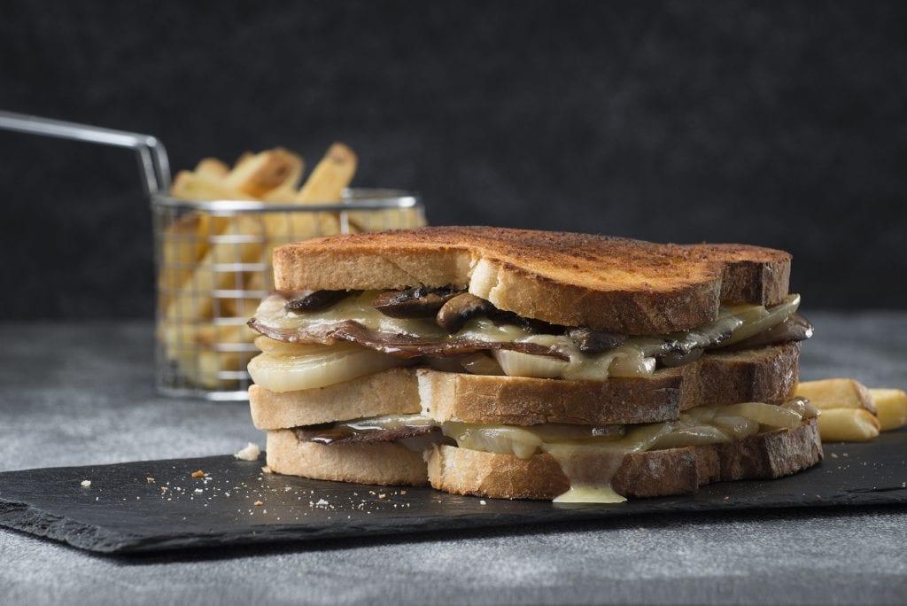 Toasted Steak sandwich served on slate